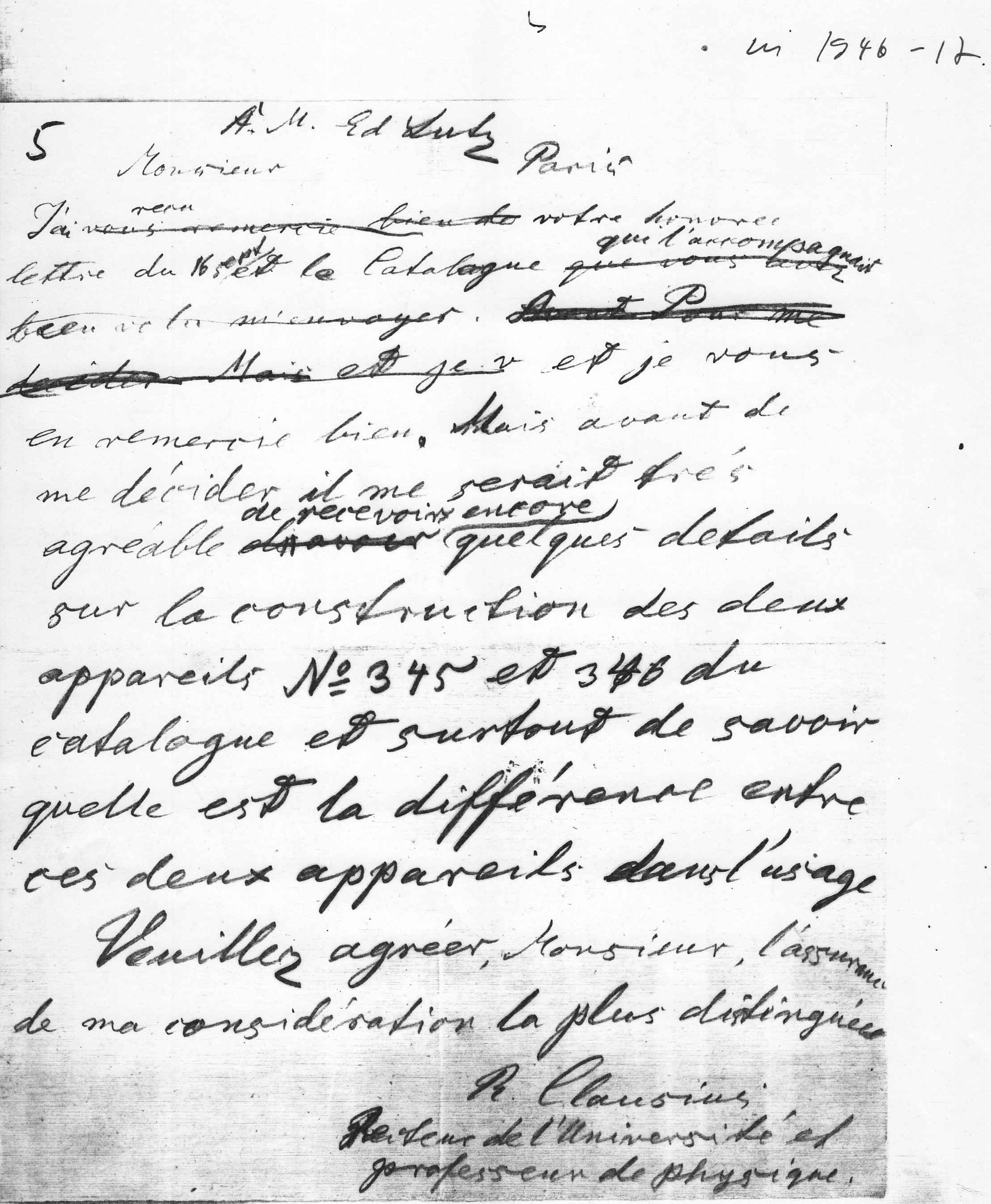Draft of a letter in french by Clausius