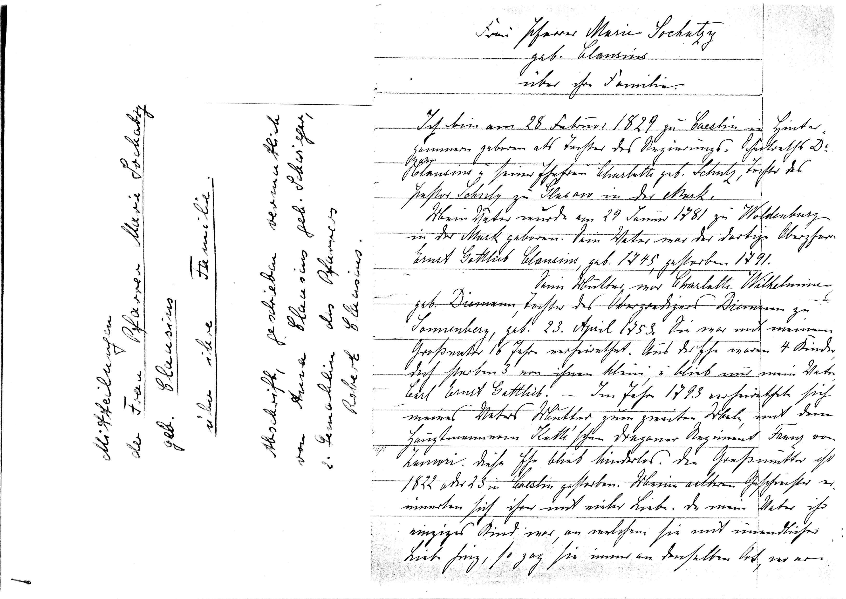 First page of M. Sochatzy's notes.